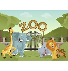 Zoo with african animals vector