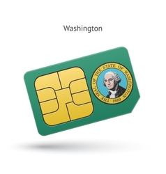 State of washington phone sim card with flag vector