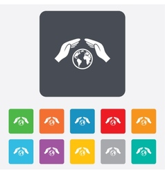 Worldwide insurance sign hands protect cover vector