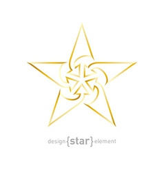 Abstract gold star with arrows made of thin lines vector