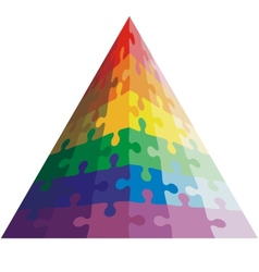 Jigsaw puzzle shape of a triangle colors vector