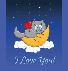 Cat with heart lying on the moon vector