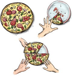 Yummy pizza hands holding pizza slices vector