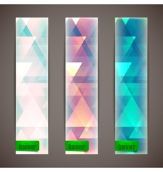 Set of faded banners with triangles vector