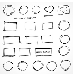 Set of hand drawn isolated scribble design vector