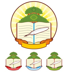 Book tree emblem vector