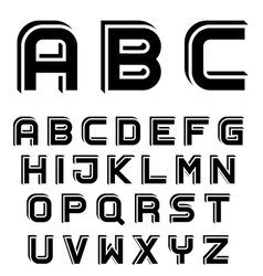 3d black simple font alphabet letters vector