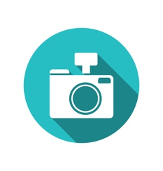 Icon photo camera white cuted on blue round vector