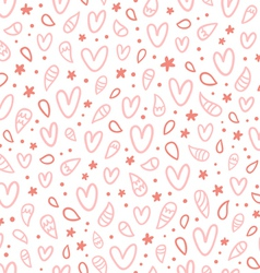Pink doodle hearts seamless pattern vector