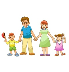 My family holding hands cartoon vector