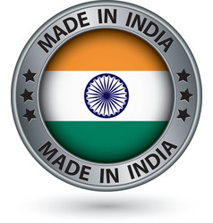 Made in india silver label with flag vector