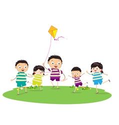 Little children outdoors kites vector
