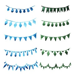 Watercolor set vintage green garlands for party vector