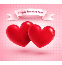 Two valentine hearts vector