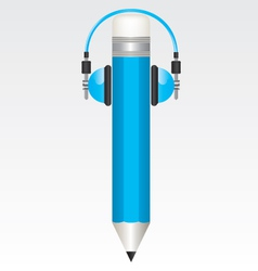 Pencil and headphones blue vector
