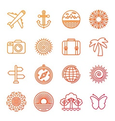 Set of linear icons related to summer vector