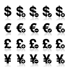 Currency icons set - dollar euro yen pound vector