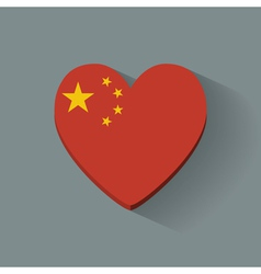 Heart-shaped icon with flag of china vector