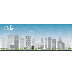 Oslo skyline with grey building vector