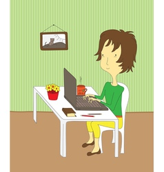 Girl working on laptop vector
