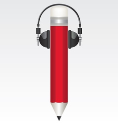 Pencil red and headphones vector