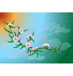 Branch of peach blossom vector