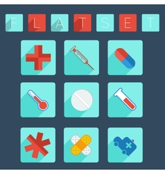 Flat medical icon set vector