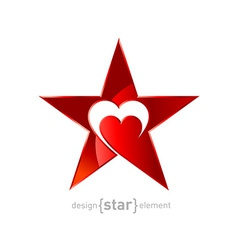 Original metallic red star with heart vector