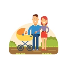 Happy young family with baby in stroller vector