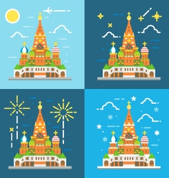 Flat design 4 styles of saint basils cathedral vector