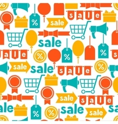 Seamless pattern with sale and shopping icons vector