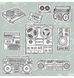 Retro musical equipment vector