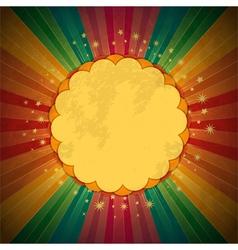 Retro rainbow starburst and border vector