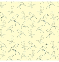 Seamless pattern with hand-written birds vector