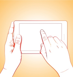 Hand touching tablet vector