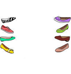 Set of female flat shoes vector