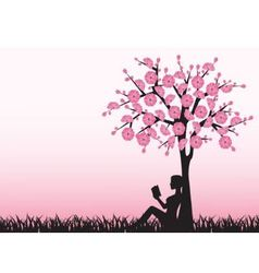 Woman reading a book under a tree vector