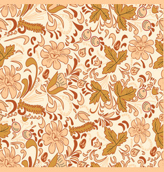 Seamless brown flowers background vector