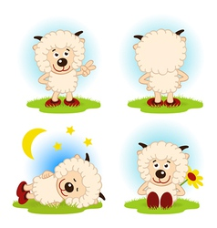 Sheep in a variety of actions vector