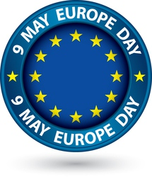 9 may europe day blue label with flag vector