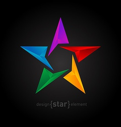 Abstract rainbow star three-dimensional graphics vector