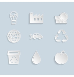 Paper ecology icons set vector