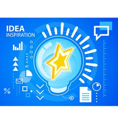 Bright idea inspiration of star on blue back vector