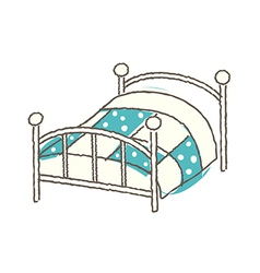 A bed is placed vector