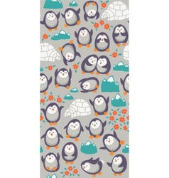 Cartoon seamless pattern with cute penguins vector