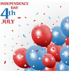 Independence day 4th july with balloon vector