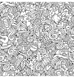 Cartoon doodles camping seamless pattern vector