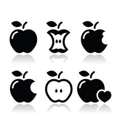 Apple apple core bitten half icons vector