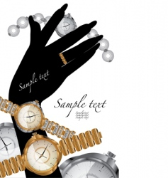 Wrist gold watch with diamonds vector