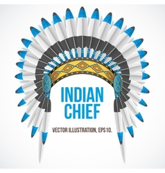 Indian chief hat with plumage front view vector